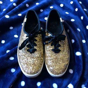 Kate Spade x Keds gold sparkle shoes, size 8